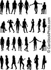 大きい, silhouettes., 女性, collection.