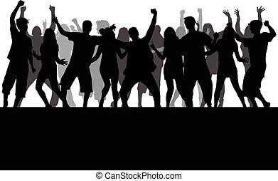 大きい, silhouettes., group., ダンス, 人々