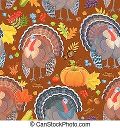 大丈夫です, seamless, パターン, ∥で∥, かわいい, turkeys., 幸せ, 感謝祭, 日