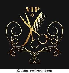 大人物, 美容院, 以及, 美容師, 黃金, 黑色半面畫像