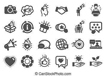 大使, 人々, ベクトル, ブランド, icons., メガホン, representative., 影響