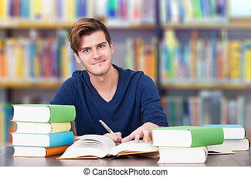 大学生, 勉強, 中に, 図書館
