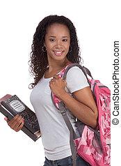 大学生, 若い, アフリカ系アメリカ人の女性