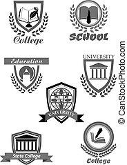 大学, ∥あるいは∥, 大学, そして, 学校, ベクトル, アイコン, セット