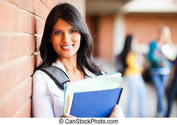 大学, クローズアップ, 女子学生, 肖像画