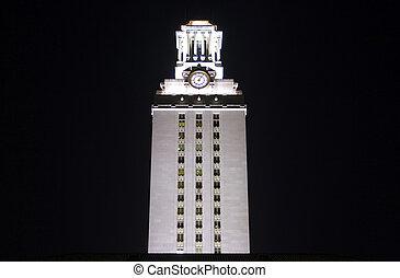 大学, 夜, タワー, テキサス, 時計
