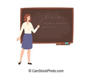 大学, 女性, 微笑, 教育, lecture., style., 地位, 寄付, ポインター, 教師, 若い, ∥横に∥, 保有物, 平ら, 労働者, イラスト, 教授, 黒板, 漫画, 学校, 有色人種, ベクトル, ∥あるいは∥