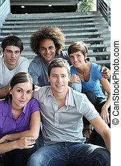 大学, 幸せ, グループ, 若い人々