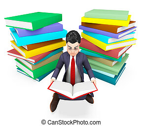 大学, 本, ビジネスマン, 読書, 企業である, 援助, ショー