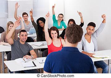 大学, 生徒, 答える, 教師