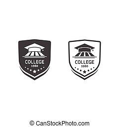 大学, 頂上, そして, 大学, 学校, 紋章, セット, ベクトル, ロゴ