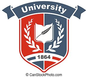 大学, heraldic, 本, 保護, 印