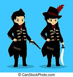 大尉, ベクトル, 海賊, 衣装