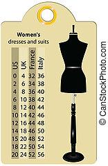 大小, 婦女, 衣服, 以及, 衣服