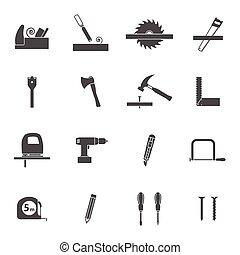 大工仕事, 道具, 黒, アイコン, セット