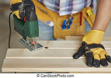 大工, される, 木工事, によって, のこぎりで切る, 木