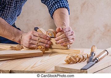 大工, 仕事, の上, 飛行機, 非常に, 光景, 終わり, 反対論, woodworkers