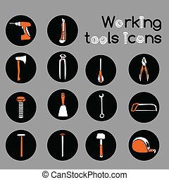 大工, 仕事, 道具, アイコン, セット