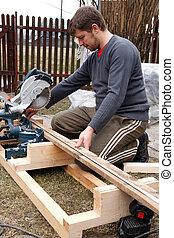 大工, 切断, 木製の板