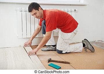大工, 労働者, 参加する, parket, 床