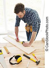 大工, 点検, 寸法, の, 木製の板