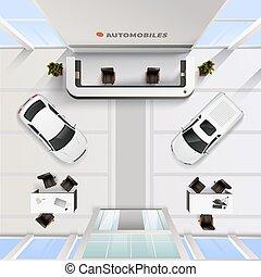 大広間, オフィス, 自動車, 上, インテリア光景