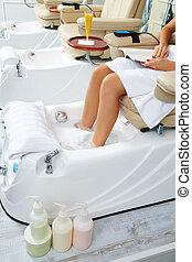 大広間, ペディキュア, ソファー, 爪, 浴室, フィート, 椅子