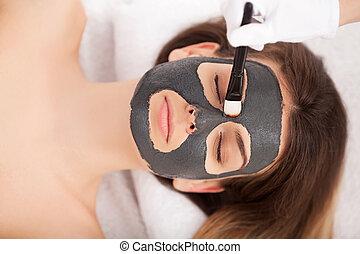 大広間, 女, 美しさマスク, 美顔術, 受け取ること