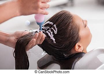 大広間, 得ること, 若い, 魅力的, hairwash, 女の子