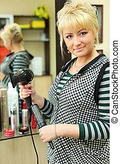 大広間, 美しさ, 美容師, 仕事場, 鏡, hairdryer