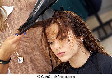 大広間, 美しさ, hairstyle., 美容師