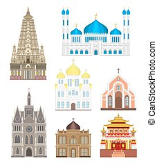 大教堂, 以及, 教堂, infographic, 寺廟, 建筑物, 集合, 建築學, 亞洲, 界標, 旅遊業, 矢量