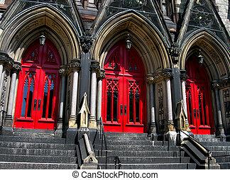 大教堂, 紅色, 門, 教堂