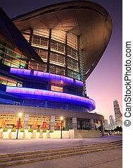 大會, 以及, 展覽, 中心, 在, 傍晚, time., 香港