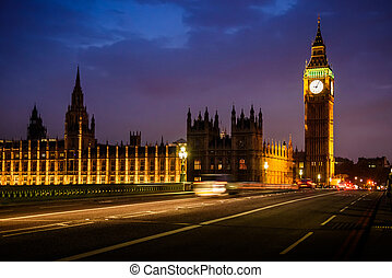 大本鐘鐘塔, 以及, 議會, 在, the, 夜晚, 倫敦, 英國