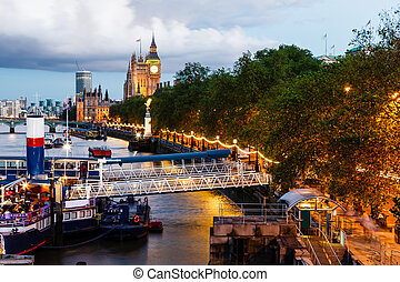 大本鐘, 以及, 威斯敏斯特 橋梁, 在, the, 晚上, 倫敦, 英國