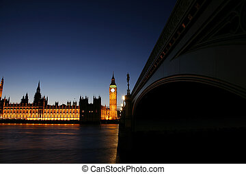 大本鐘, 以及, 宮殿, ......的, westminster