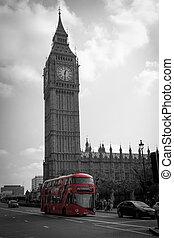 大本鐘, 以及, 紅色, 公共汽車