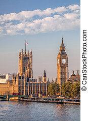 大本鐘, 以及, 議會的房子, 在, 倫敦, england, 英國