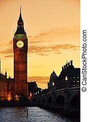 大本鐘, 以及, 議會的房子, 夜間, 倫敦