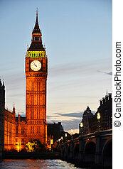 大本鐘, 以及, 議會的房子, 夜間, 倫敦, 英國