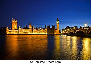 大本鐘, 以及, 議會的房子, 夜間