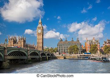 大本鐘, 以及, 議會的房子, 由于, 小船, 在, 倫敦, england, 英國