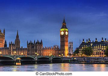 大本鐘, 以及, 議會, 倫敦, 英國, 在, the, 黃昏, 晚上