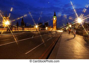 大本鐘, 以及, the, 議會, 夜間, 倫敦, 英國