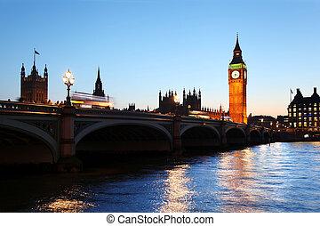 大本鐘, 在, the, 晚上, 倫敦, 英國