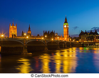 大本鐘, 夜間, 倫敦