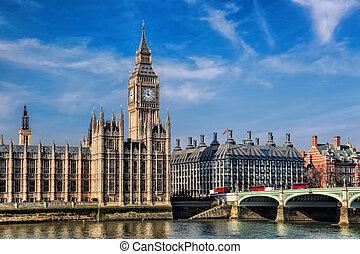 大本鐘, 由于, 三, 雙, deckers, 公共汽車, 上, the, 橋梁, 在, 倫敦, england