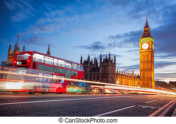 大本鐘, 由于, 交通堵塞, 在, the, 晚上, 倫敦, 英國