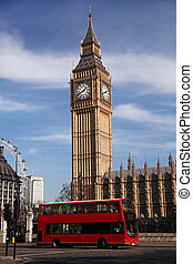 大本鐘, 由于, 公共汽車, 在, 倫敦, england